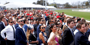 Caulfield Cup bookmakers australia are dotted in the crowd