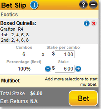 Quinella bet at Sportsbet