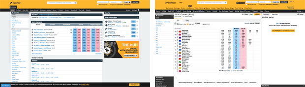 Betfair Australia screenshot
