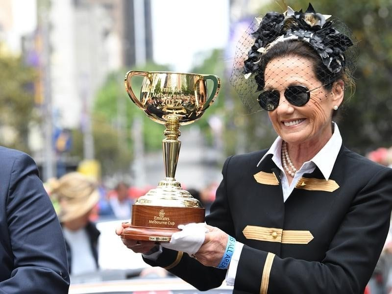 Victoria Racing Club chairwoman Amanda Elliott with the Melbourne Cup