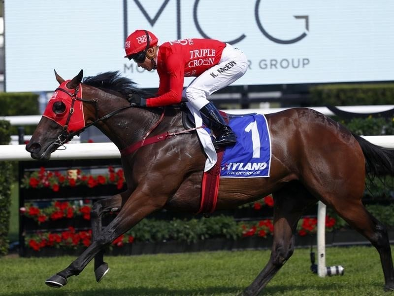 Kerrin McEvoy rides Redzel to win the Challenge Stakes