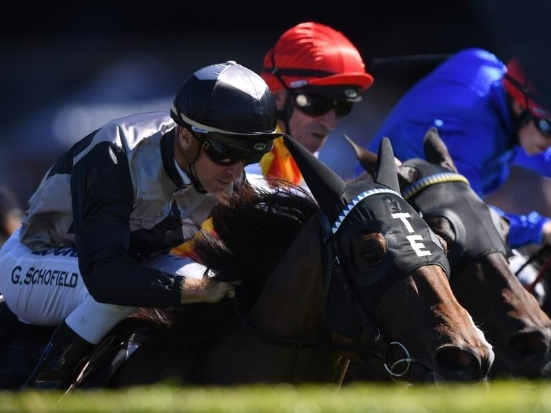 Houtzen ridden by Glyn Schofield (left) wins race three at Randwick