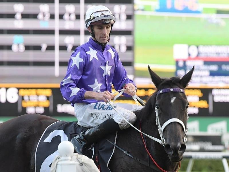 Jockey Tye Angland returns to scale.