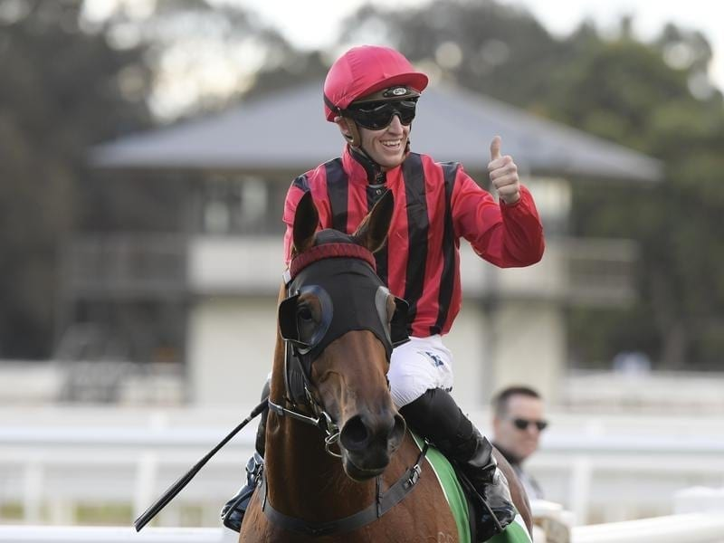 Jockey Joshua Parr returns to scale on Sweet Victory