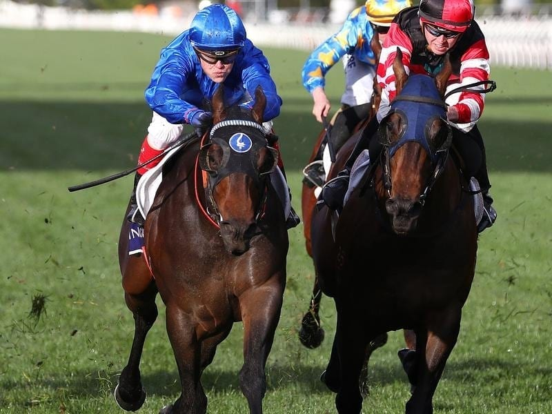 Encryption (left) wins the Danehill Stakes.