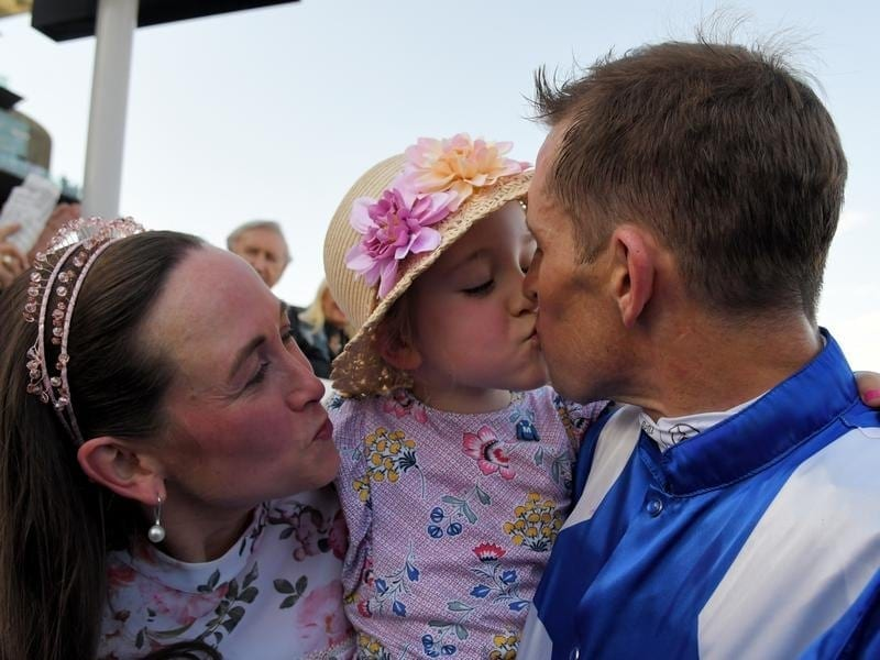 Hugh Bowman and family at Randwick.