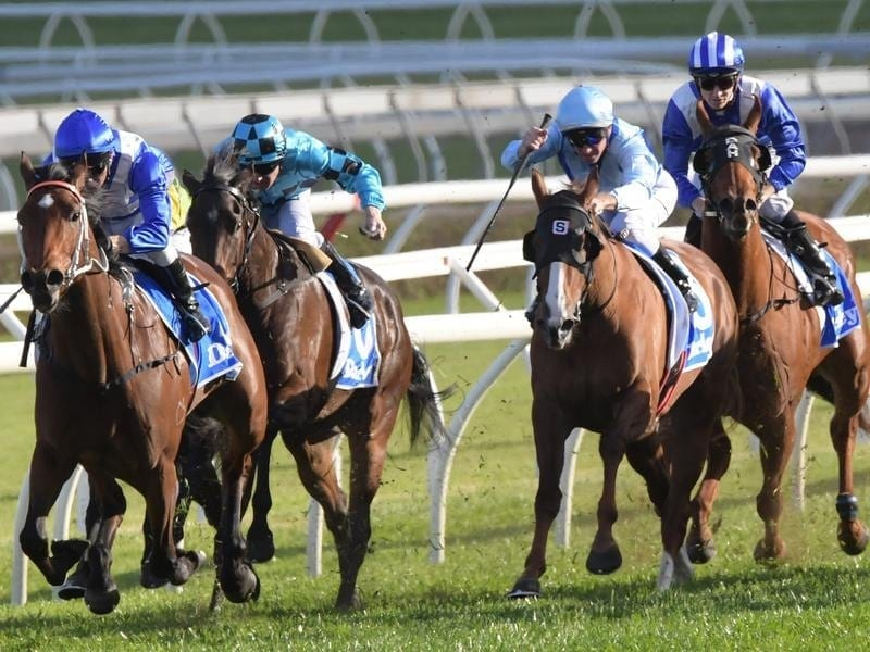 Miss Fabulass (left) wins at Randwick.