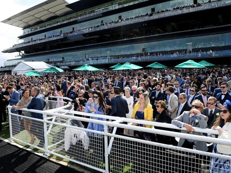 Racing fans at Randwick racecourse on Everest Day.