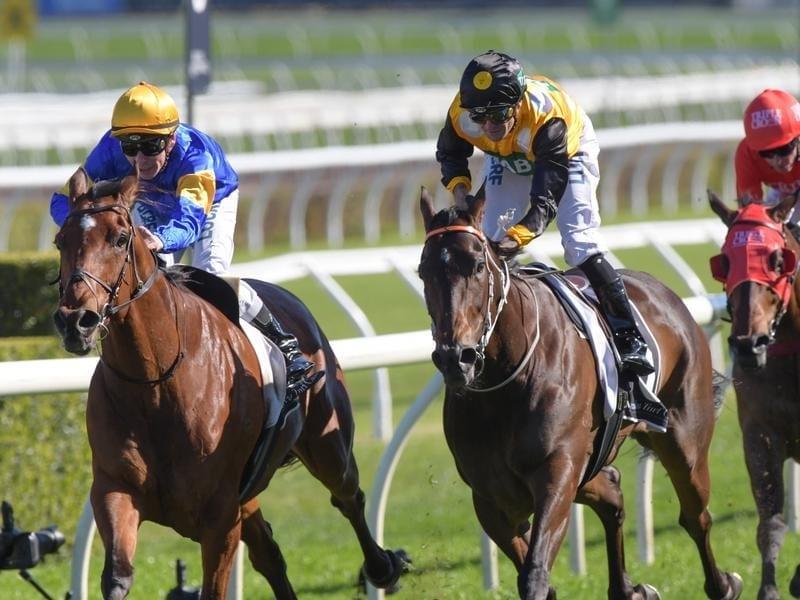 Santa Ana Lane (left) wins the Premiere Stakes.