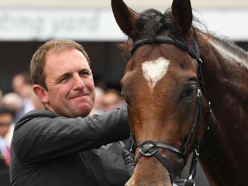 Trainer Charlie Appleby and Melbourne Cup winner Cross Counter