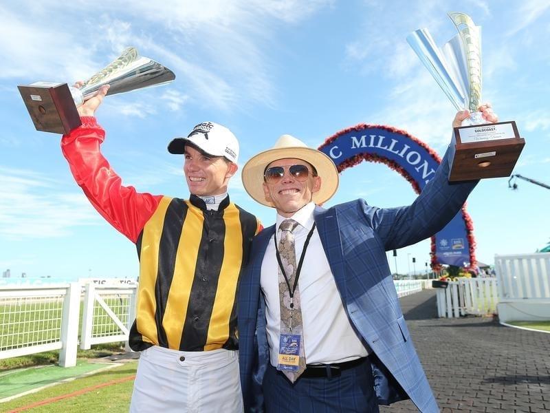 Jockey Tim Clark and trainer Chris Munce.