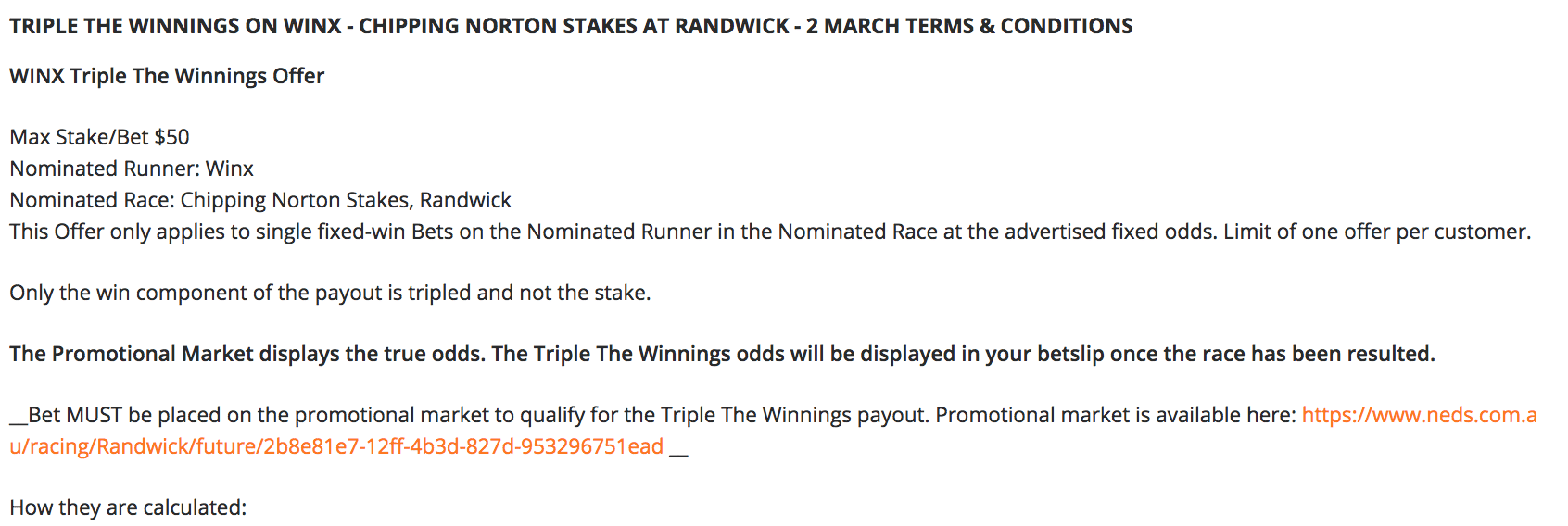 Neds offers triple odds for Winx fixed odds punters at