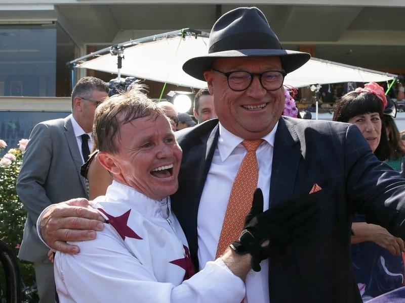 Jockey Barend Vorster with trainer Tony McEvoy (file image)