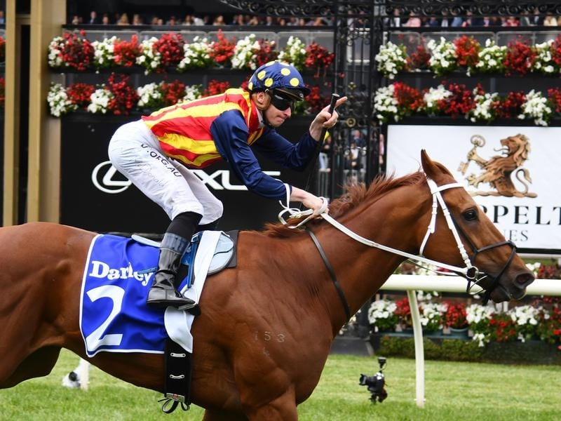 Nature Strip wins the Darley Sprint Classic.