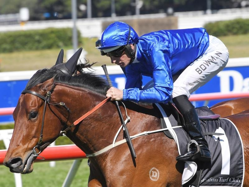Hugh Bowman rides Osborne Bulls in an exhibition gallop at Randwick