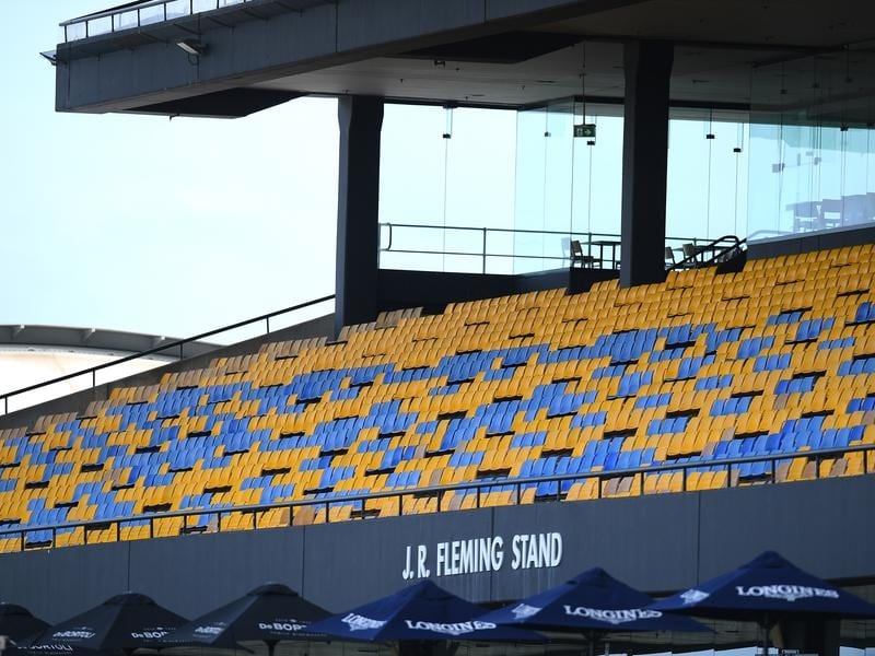 Empty grandstands on Golden Slipper day at Rosehill.