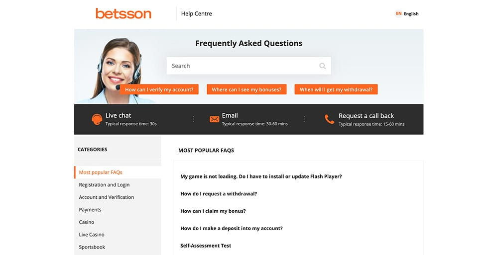 Betsson Customer Service